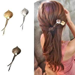 calla lily flower leaf hair pin clip barrette